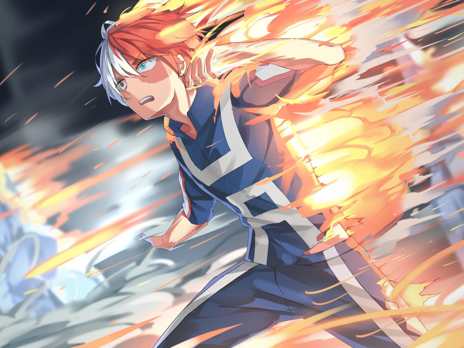 1600x1200 wallpaper Shouto Todoroki, Boku no Hero Academia, anime boy, run, fire