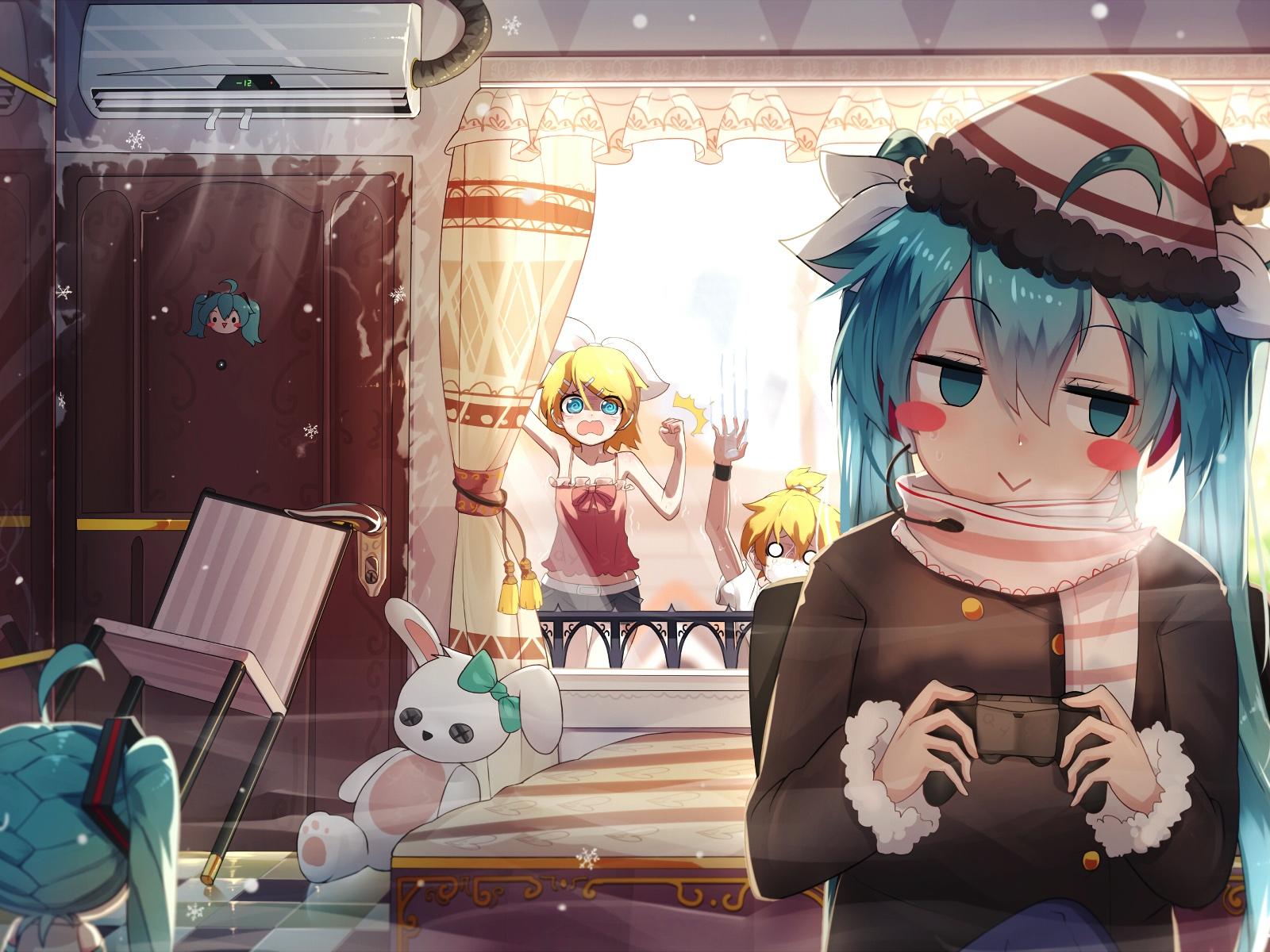 Download 1600x1200 Wallpaper Cute, Hatsune Miku, Playing, Game