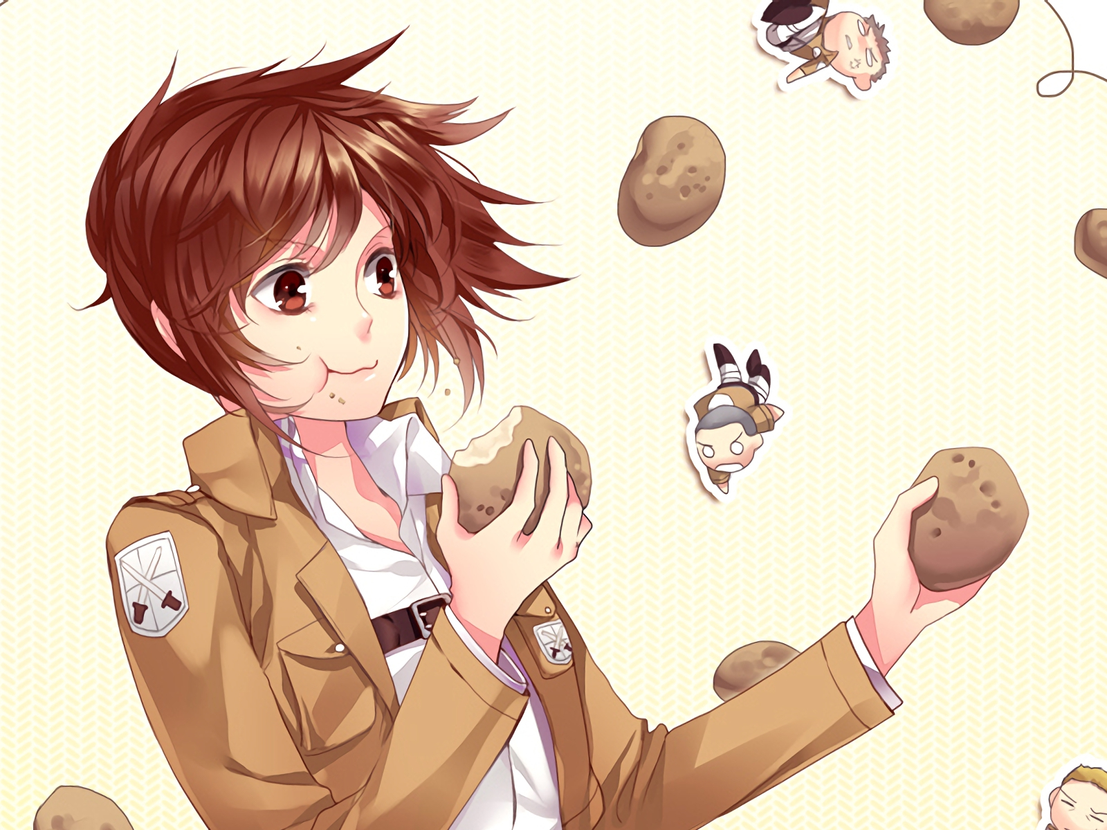 Desktop Wallpaper Sasha Blouse Sasha Braus Attack On Titan Eating Anime Girl Hd Image Picture Background Suo 1z