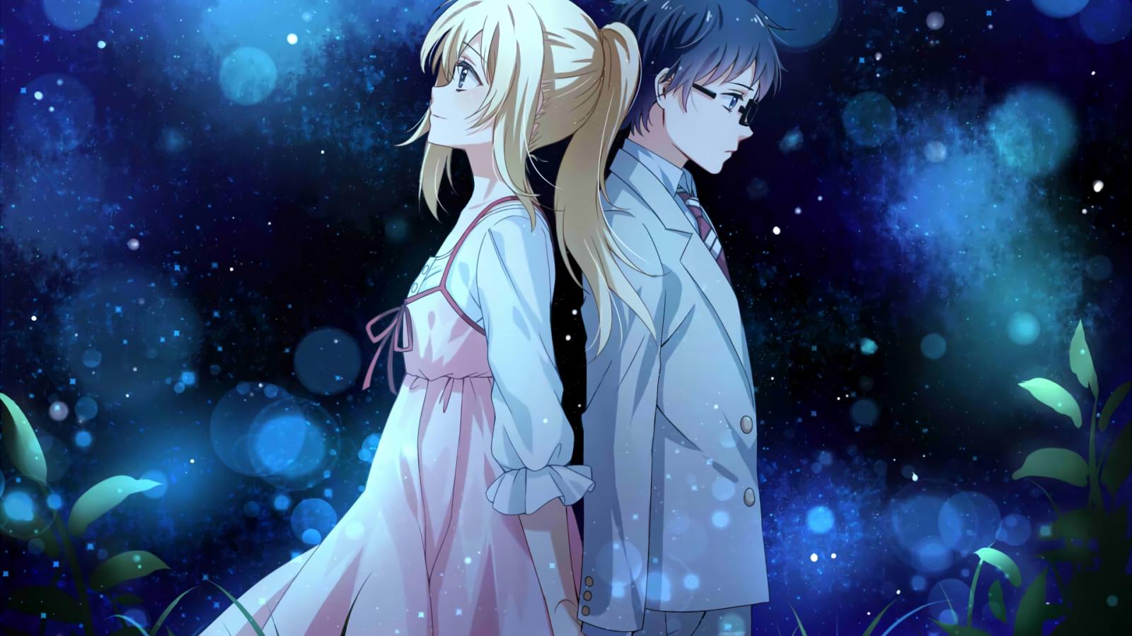 1600x900 wallpaper Anime couple, Kaori Miyazono, Kousei Arima, Your Lie in April