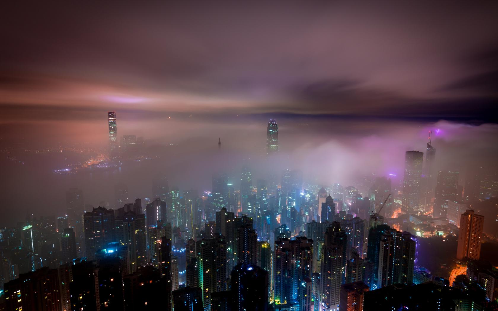1680x1050 wallpaper Clouds, aerial view, hong kong, city, night, buildings, mist