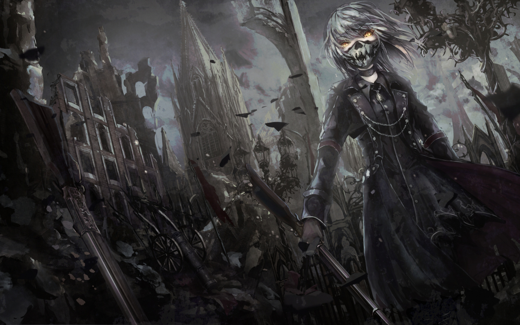 1680x1050 wallpaper dark anime girl with gun mask art