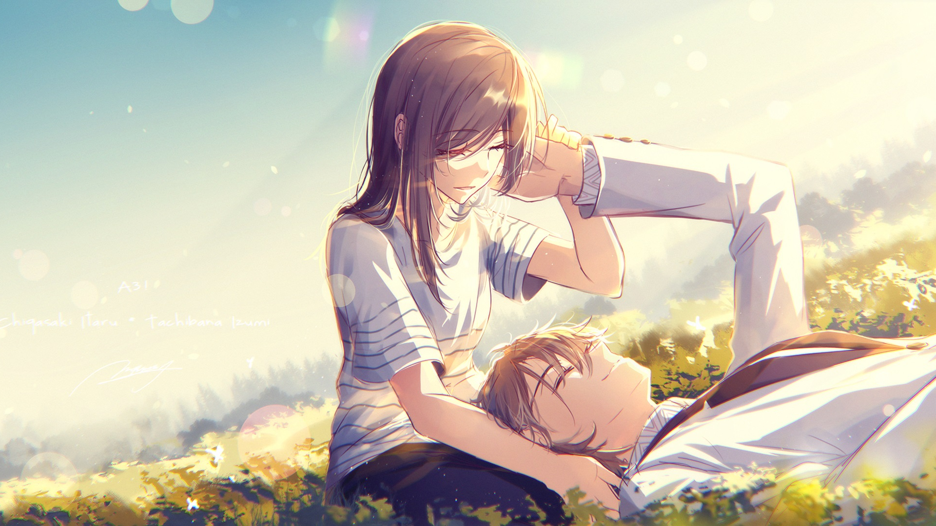 1920x1080 wallpaper Cute, anime, couple, meadow, love