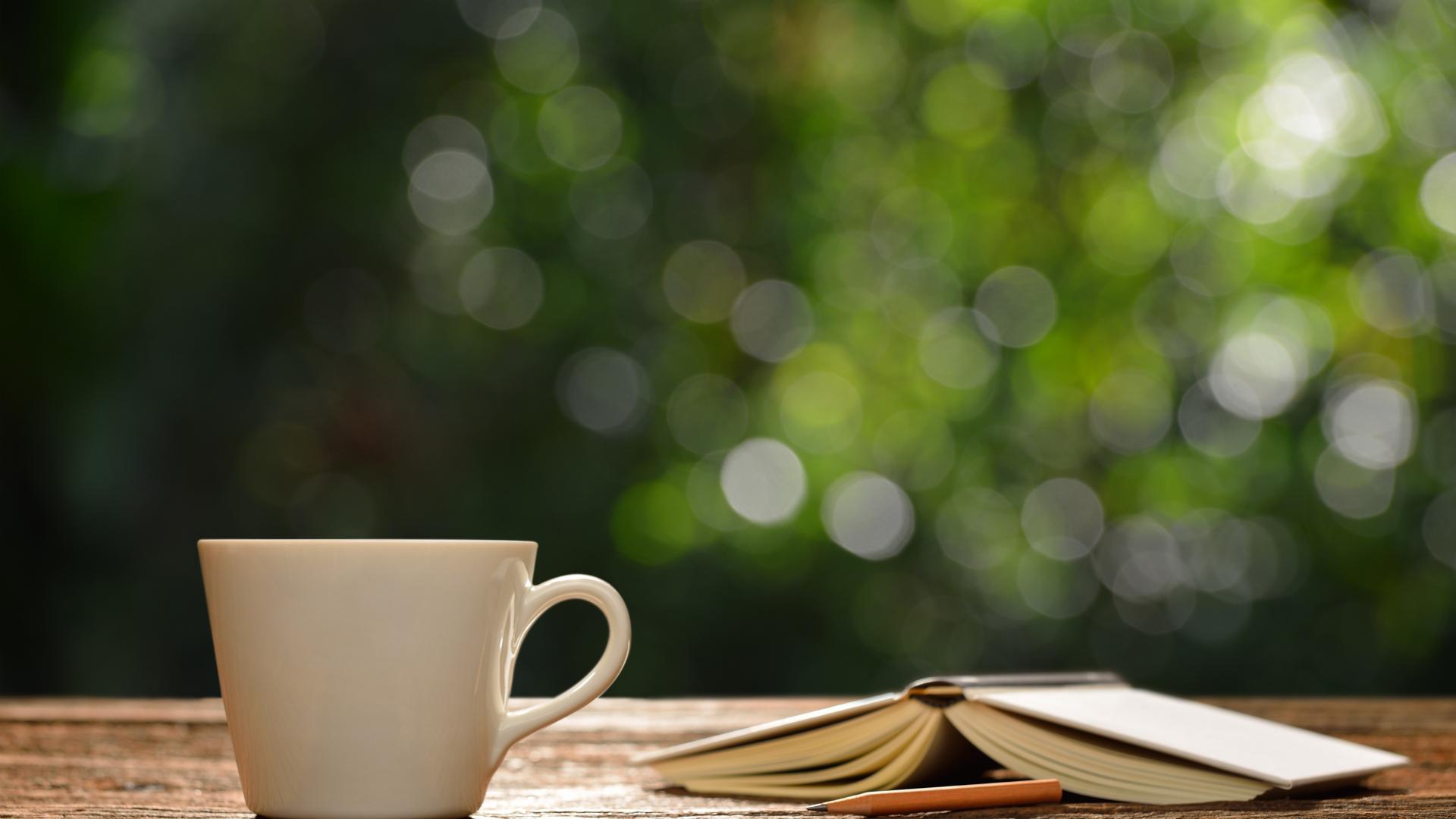 Download 1920x1080 Wallpaper Coffee Cup, Book, Bokeh, 4k, Full Hd, Hdtv, Fhd, 1080p, 1920x1080 ...
