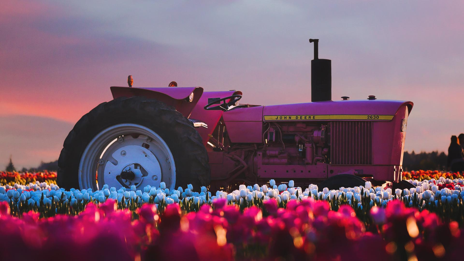 1920x1080 wallpaper John Deere Tractor flower farm, 4k