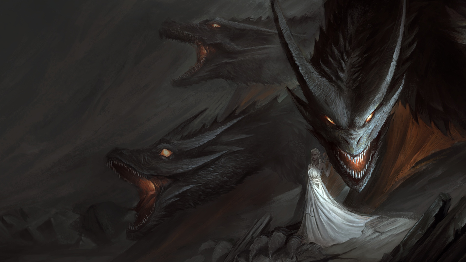 Download 1920x1080 Wallpaper Dragon Queen With Dragons Art Game Of