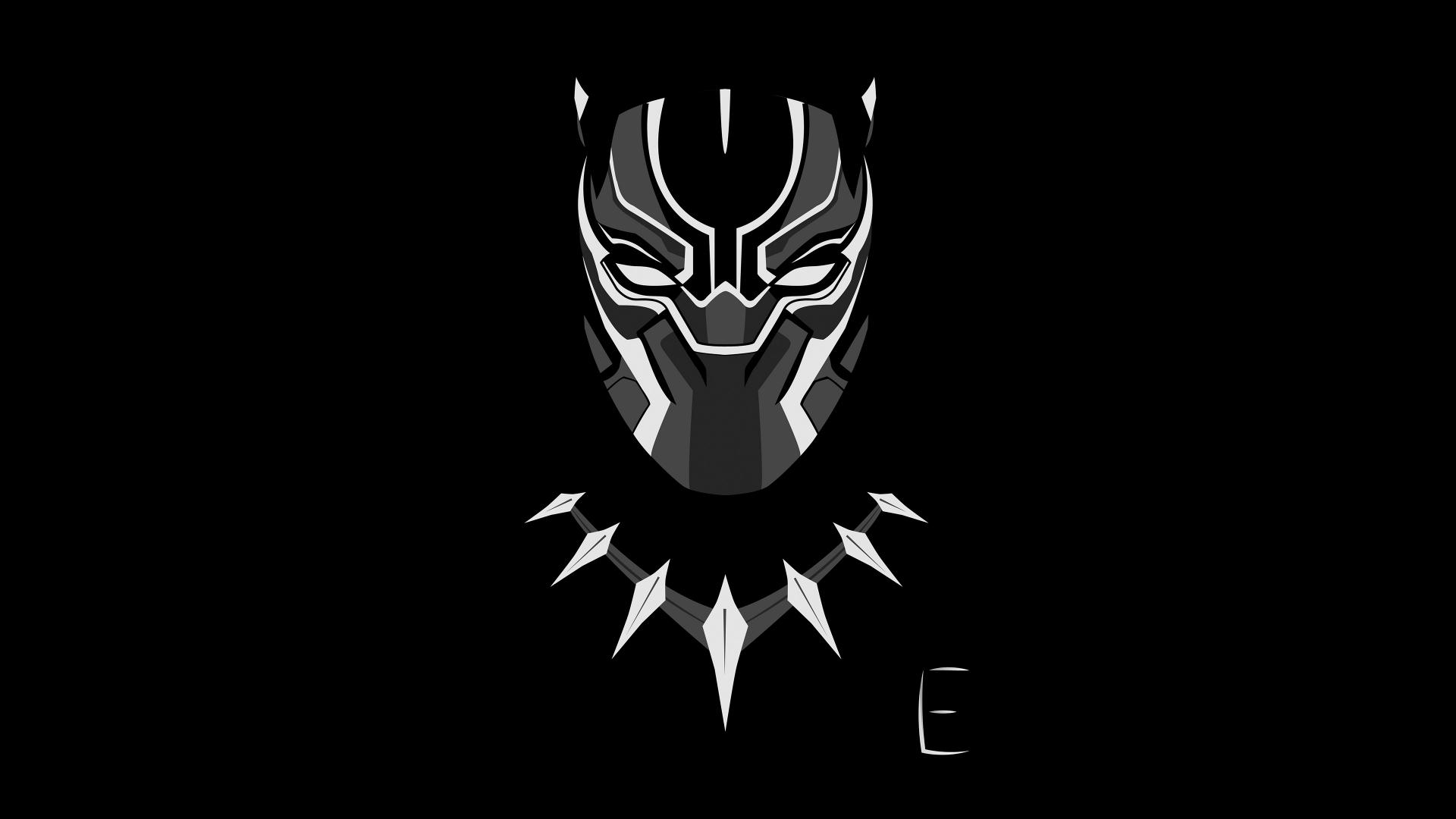Download 1920x1080 wallpaper black panther face minimal for Minimal art face