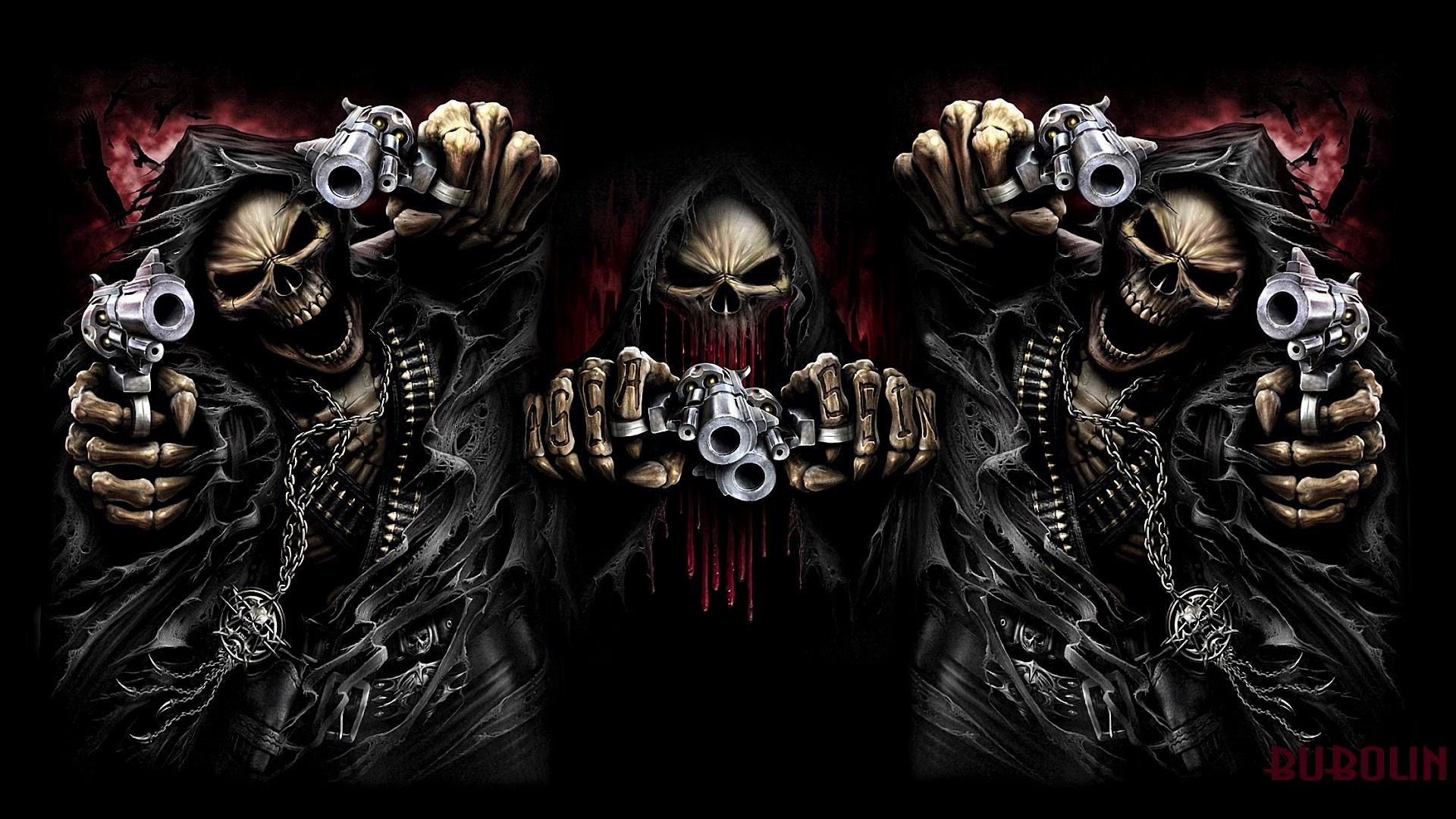 Download 1920x1080 Wallpaper Ghost, Assassin, Skull, Gun ...
