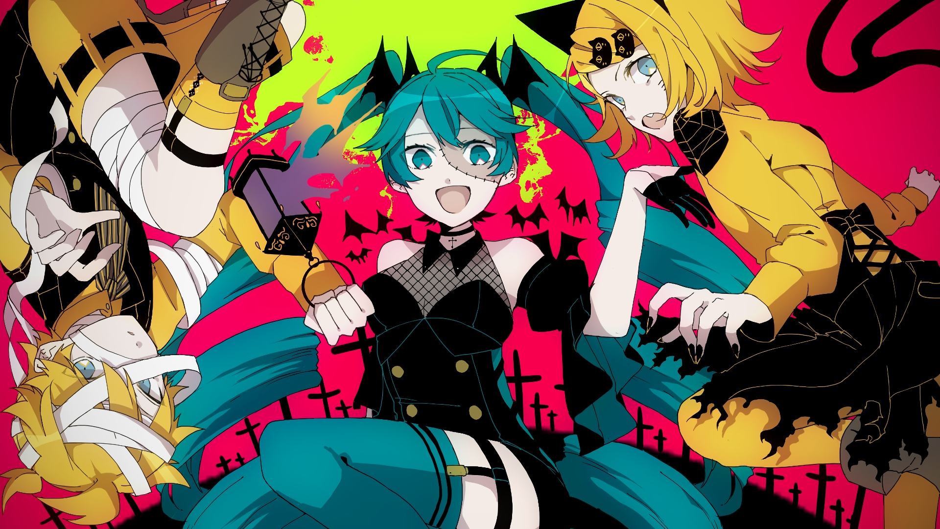 Desktop Wallpaper Hatsune Miku Kagamine Rin Len Halloween Party Anime Girls Hd Image Picture Background Acd2a1