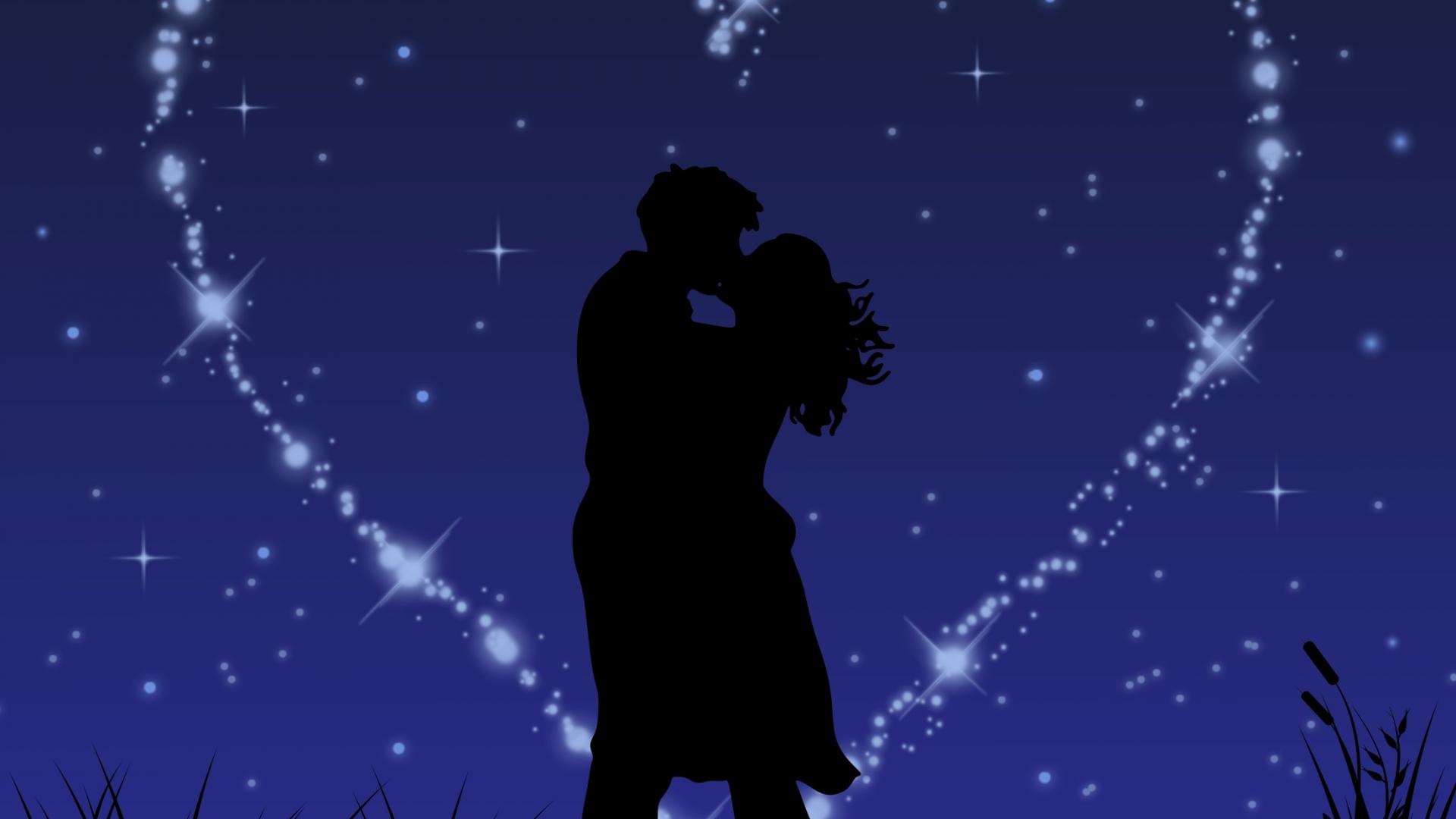 Download 1920x1080 Wallpaper Couple Love Kiss Stars Glitter