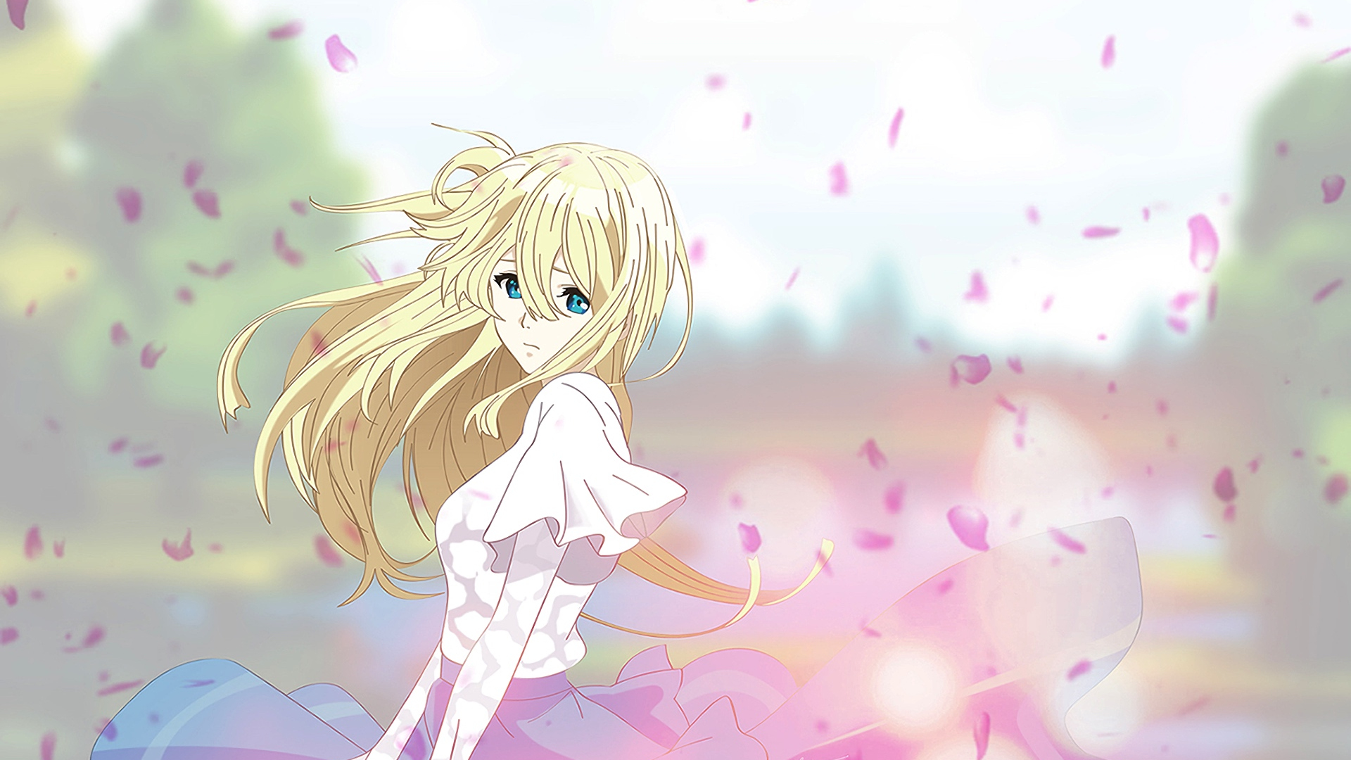 Download 1920x1080 Wallpaper Violet Evergarden Sad Anime Girl