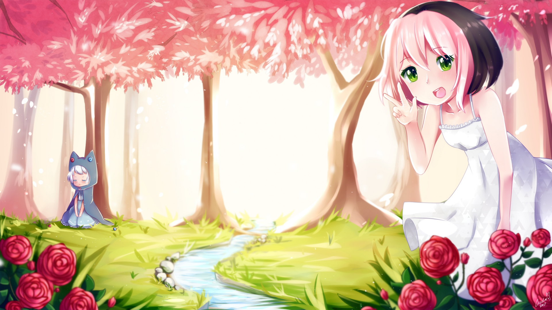 Download 1920x1080 Wallpaper Forest Osu!, Anime, Video Game, Girls