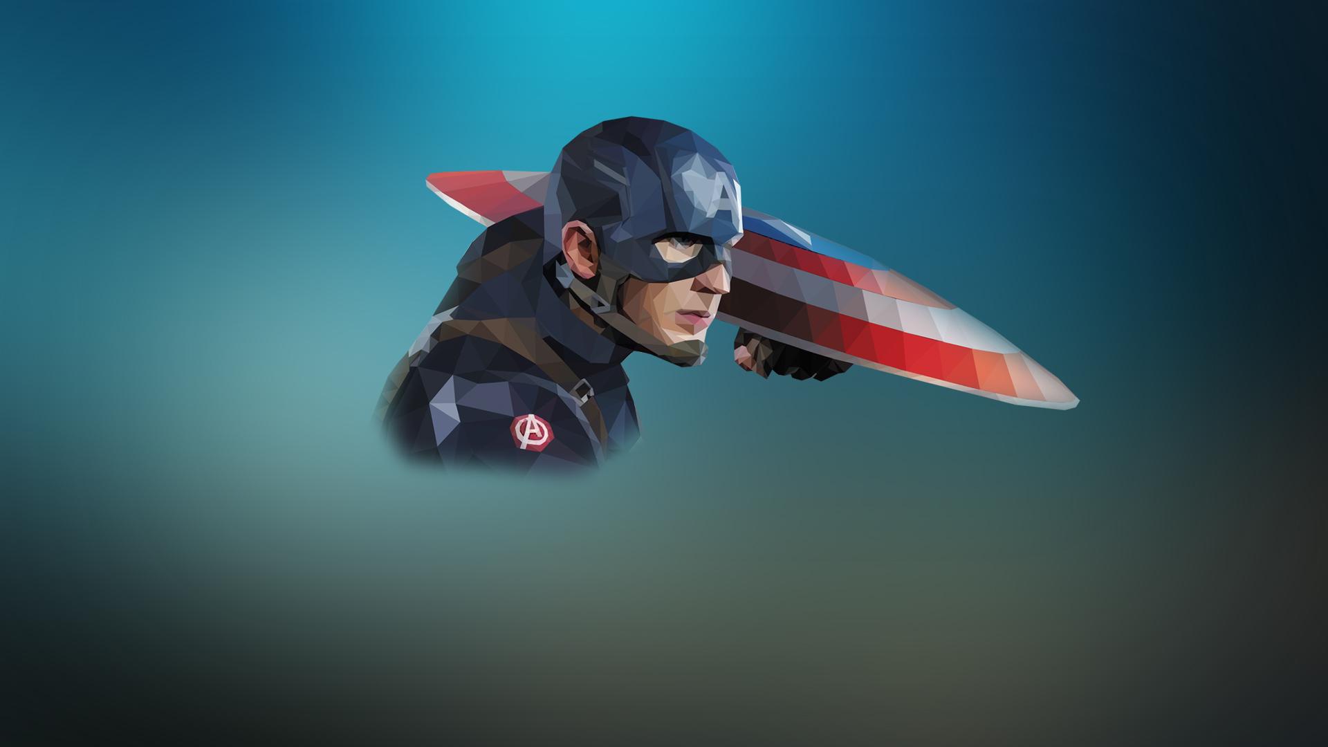 Download 1920x1080 Wallpaper Low Poly Artwork Captain America Full