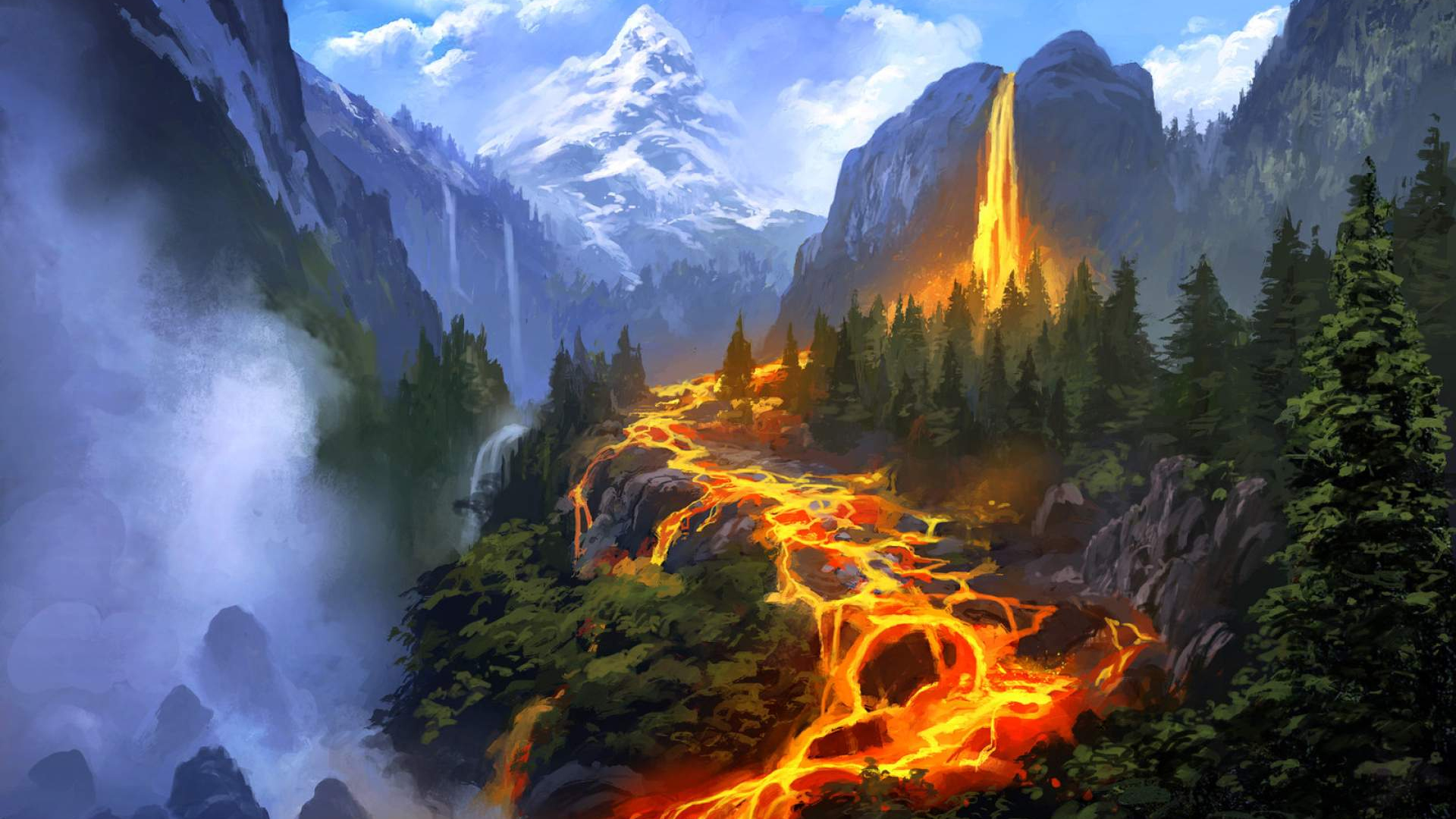Download 1920x1080 Wallpaper Lava Flow Of Volcanic Mountains Full