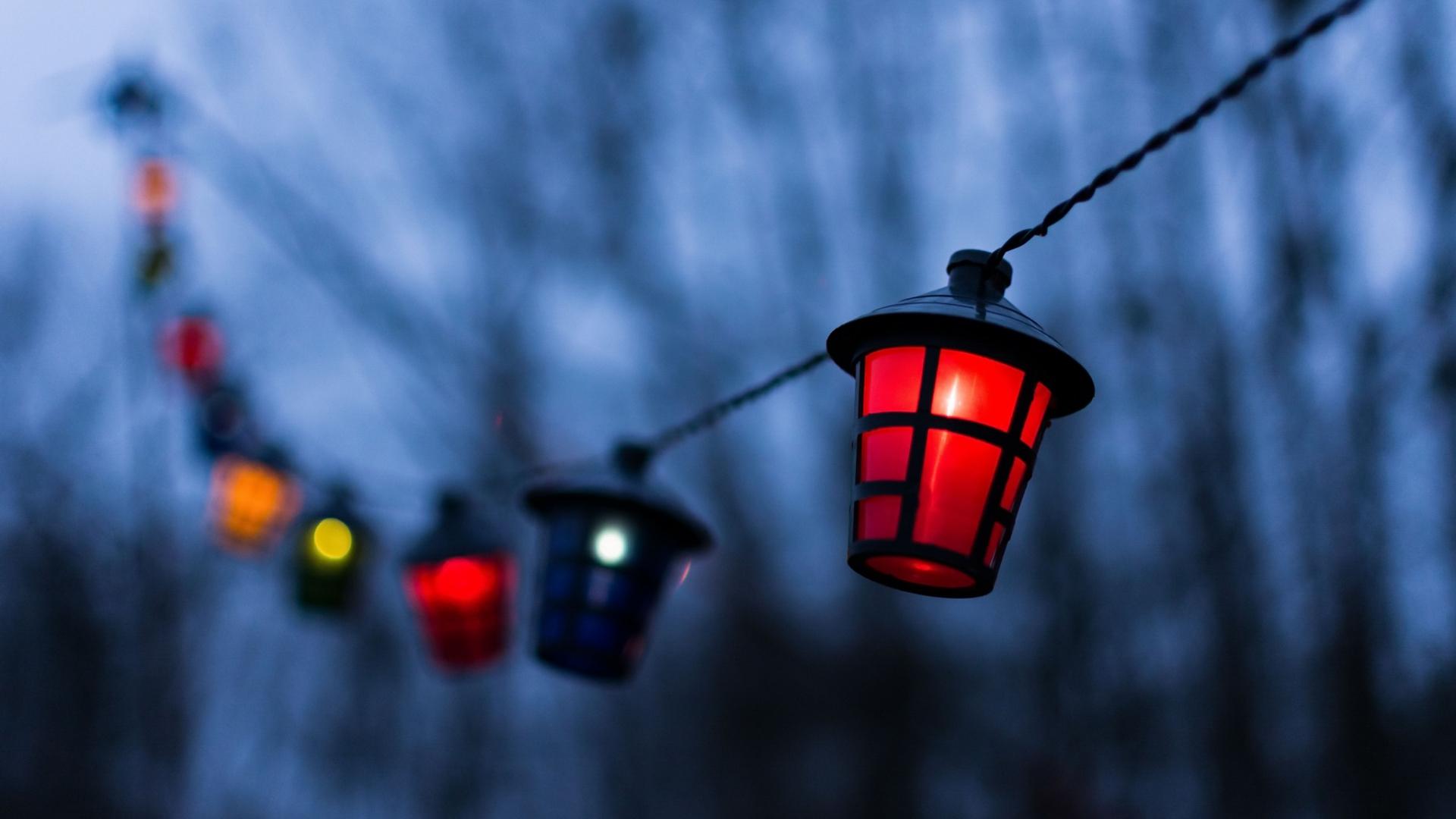 1920x1080 wallpaper Lantern, decorations, night