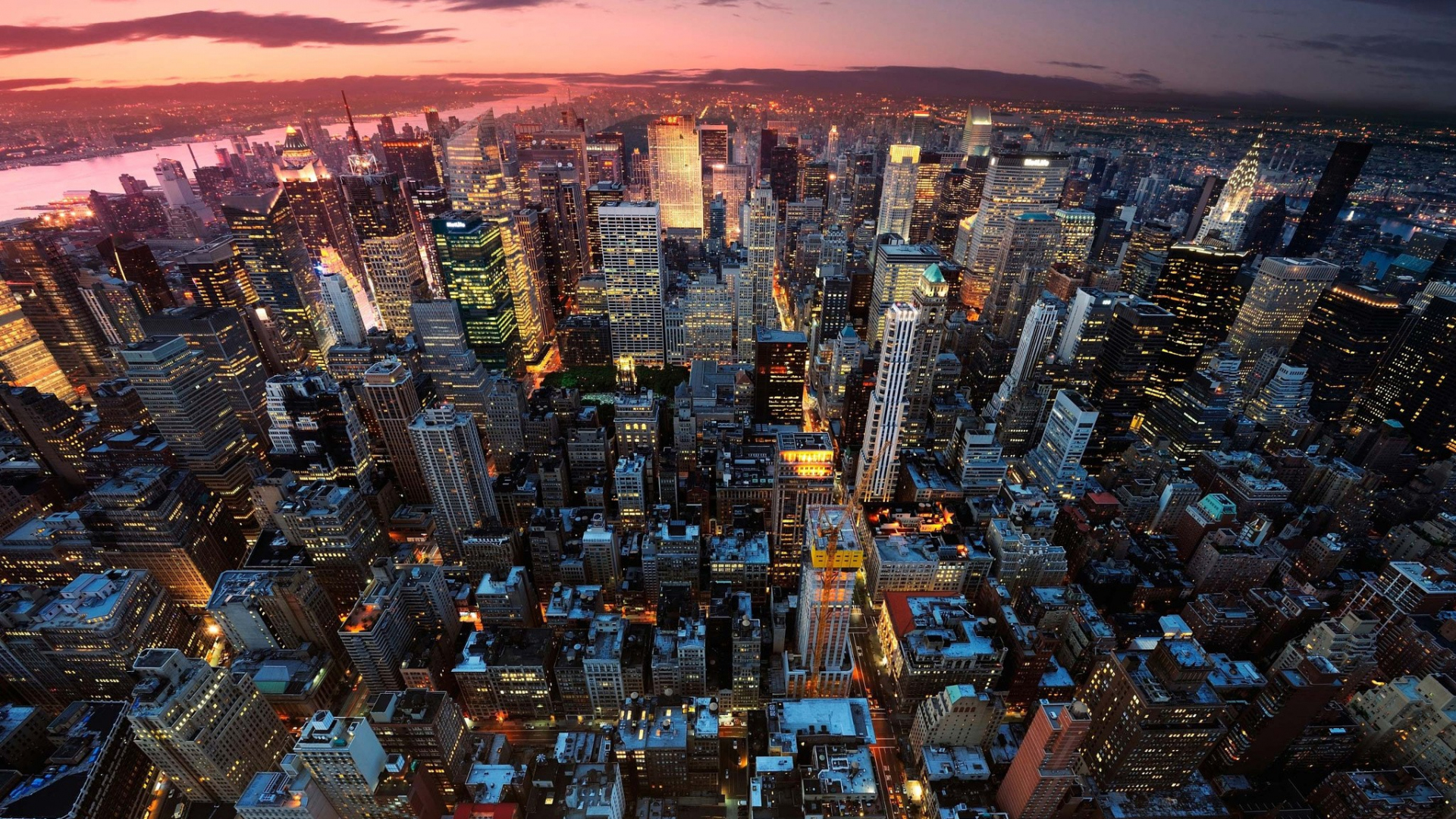 Desktop Wallpaper New York Aerial View City Night Skyscrapers Buildings Hd Image Picture Background Nlmowv