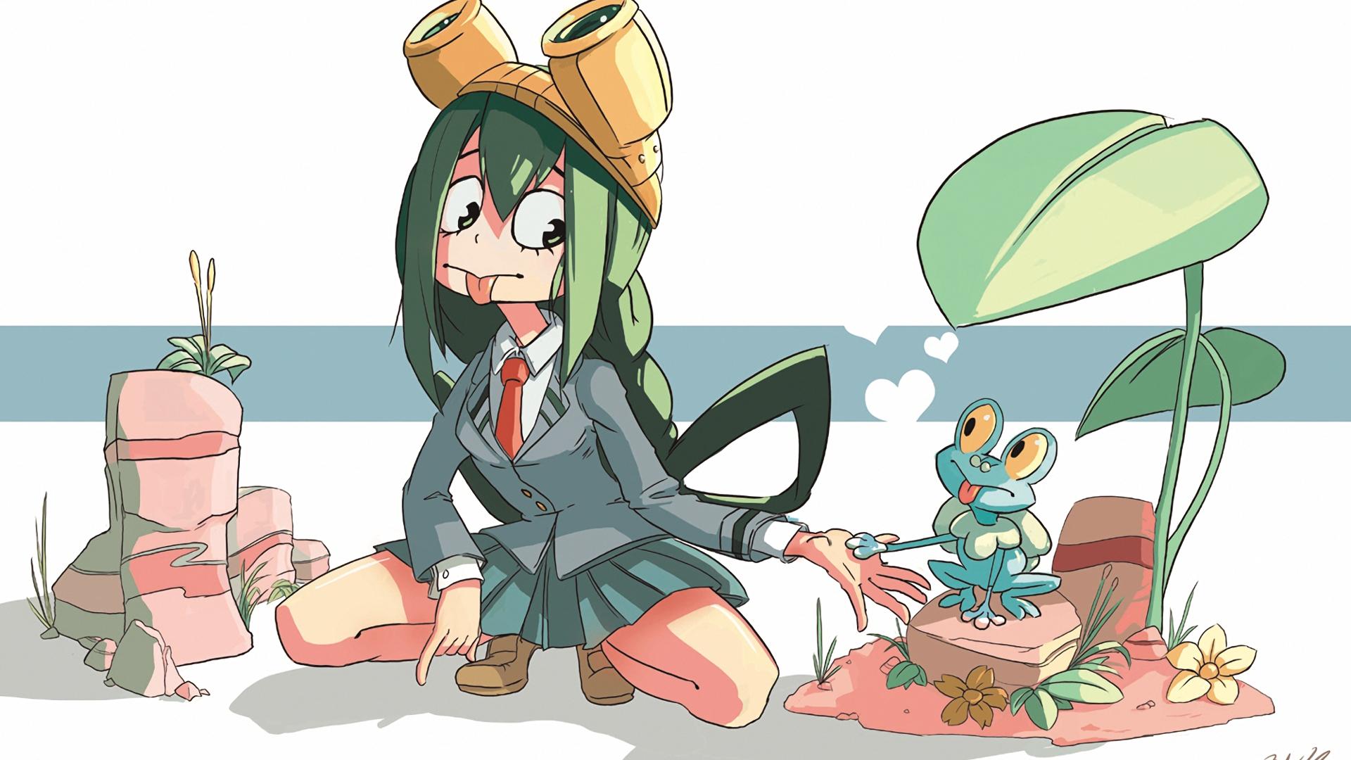 Desktop Wallpaper Anime Girl, Tsuyu Asui, My Hero Academia ...
