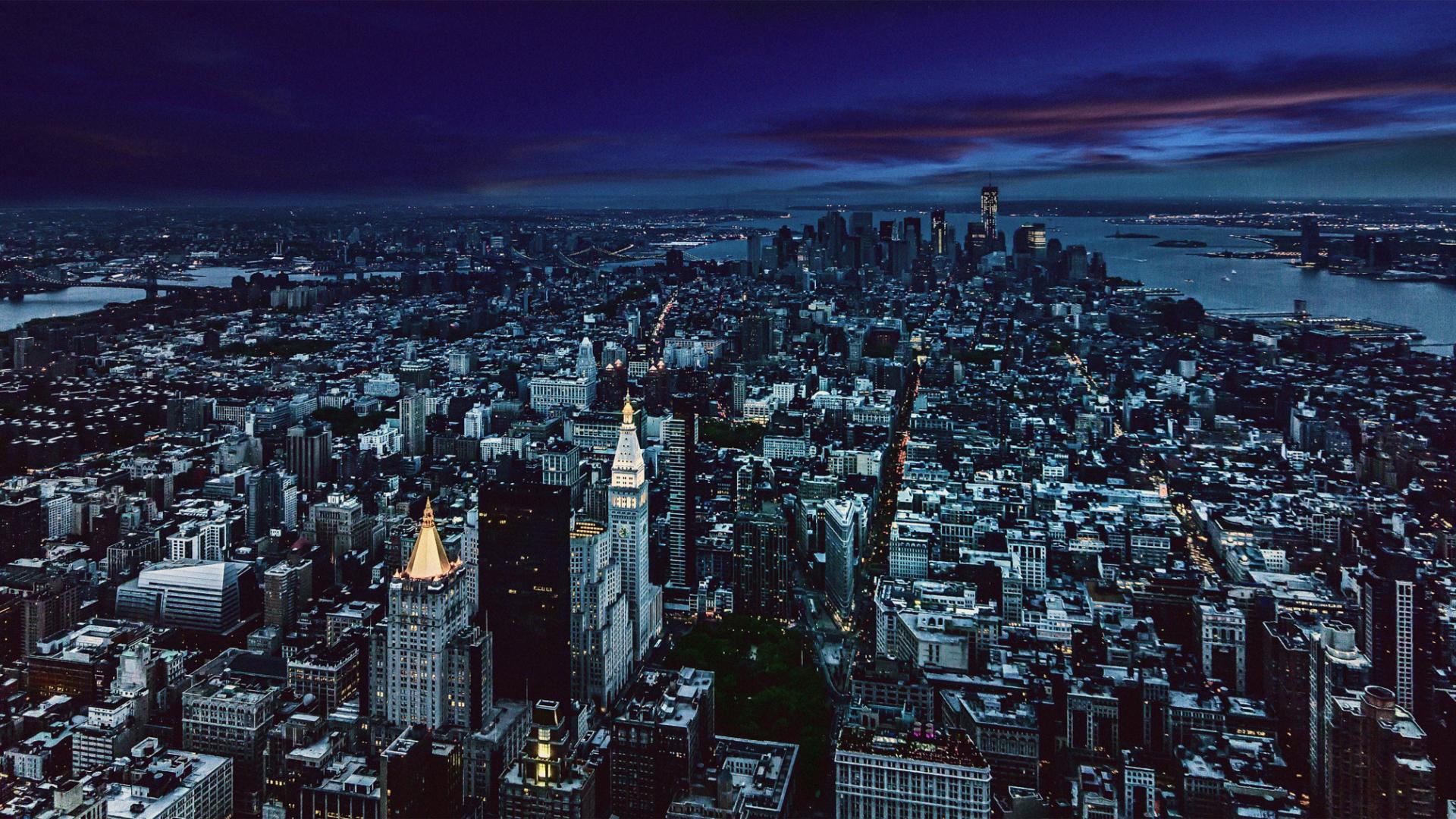 1920x1080 Wallpaper New York City Night Aerial View