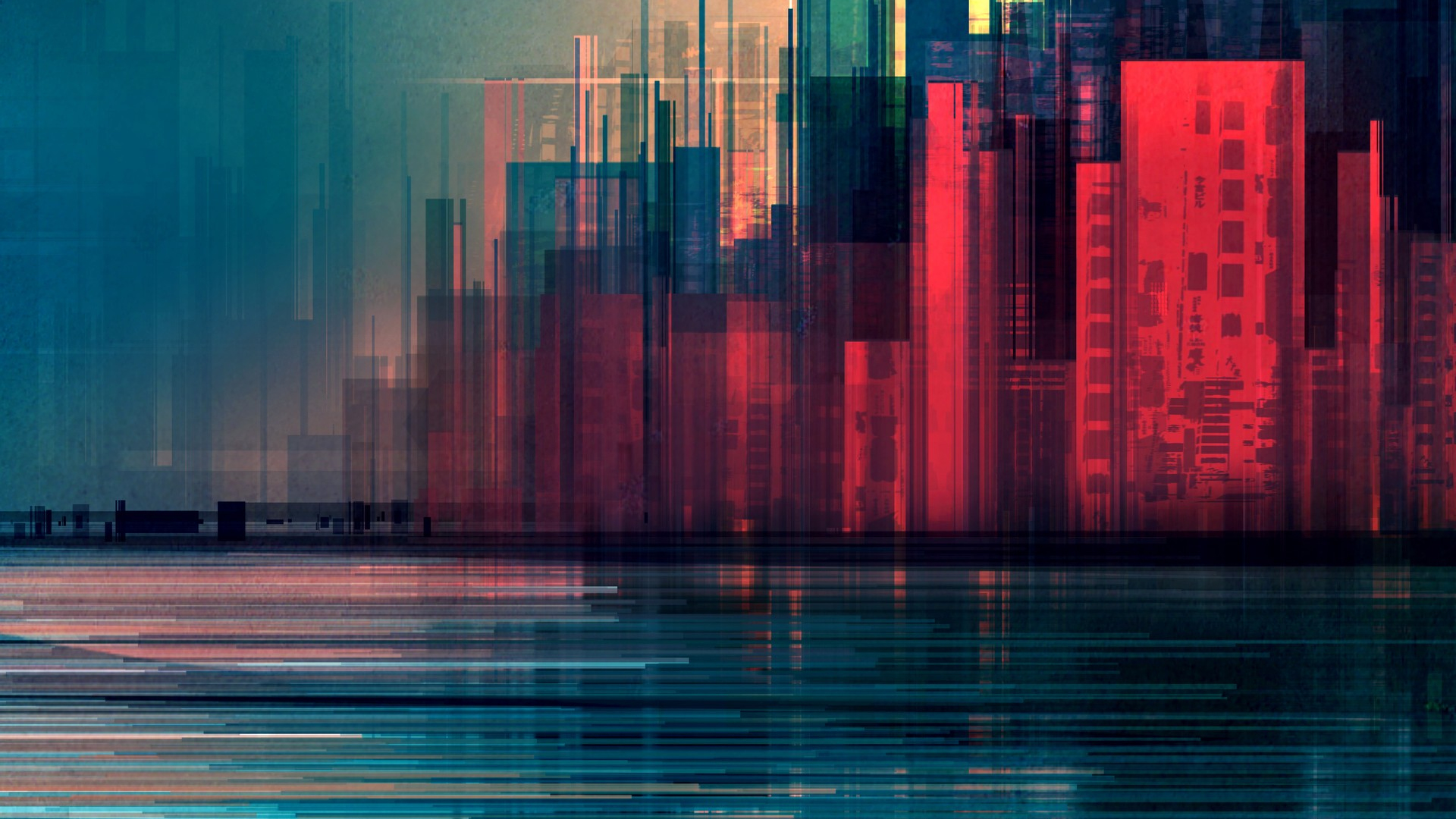 Download 1920x1080 Wallpaper Glitch Art City Abstract