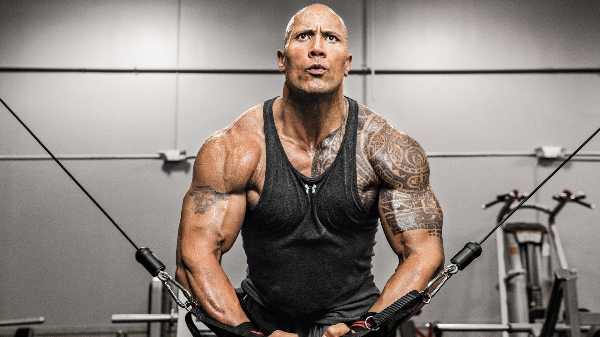 Download 1920x1080 Wallpaper Dwayne Johnson In Gym, Fitness, Full Hd