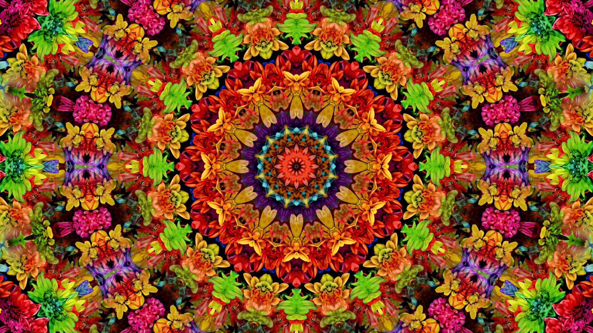 Download 1920x1080 Wallpaper Fractal Mandala Flowers Pattern