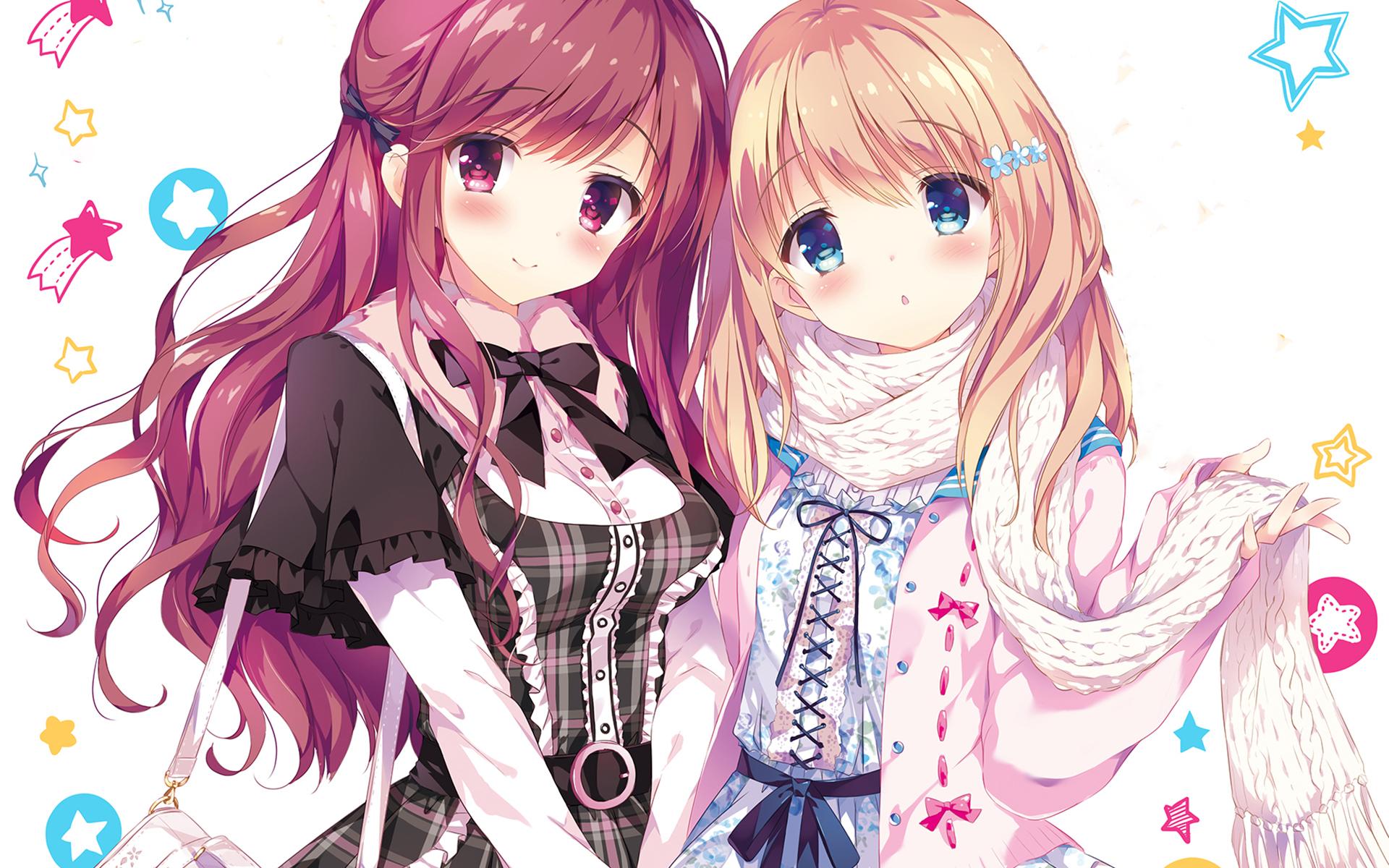 Desktop Wallpaper Cute Long Hair Anime Girls Friends Hd Image Picture Background 65e492