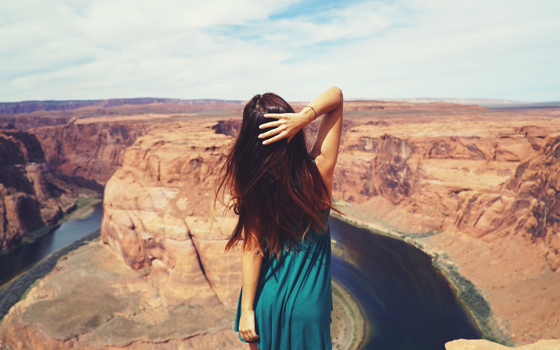 1920x1200 wallpaper Long hair girl, auburn hair, canyon river