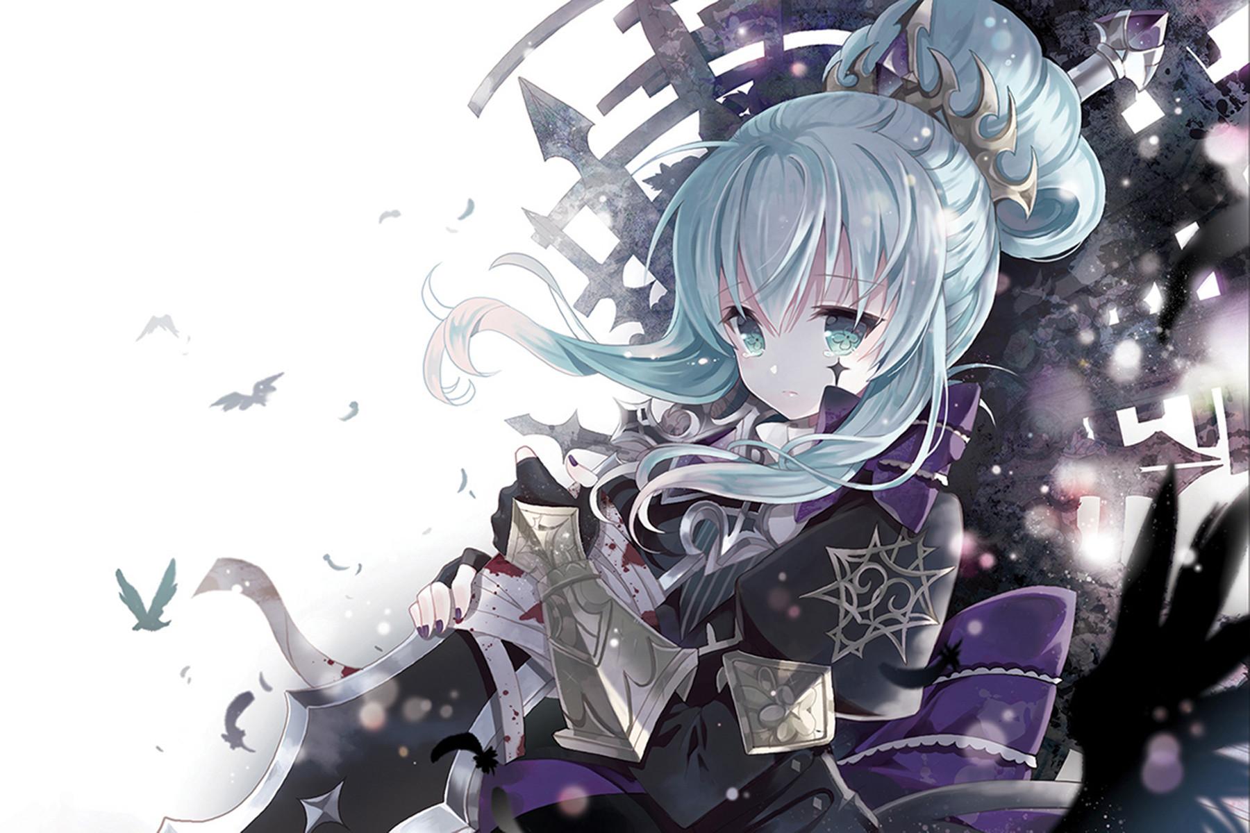 Download 1920x1200 Wallpaper Blue Eyes Blue Hair Cute Sad Anime