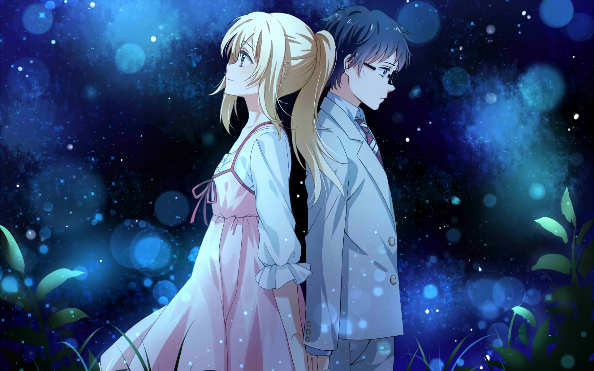 1920x1200 Wallpaper Anime Couple Kaori Miyazono Kousei Arima Your Lie In April