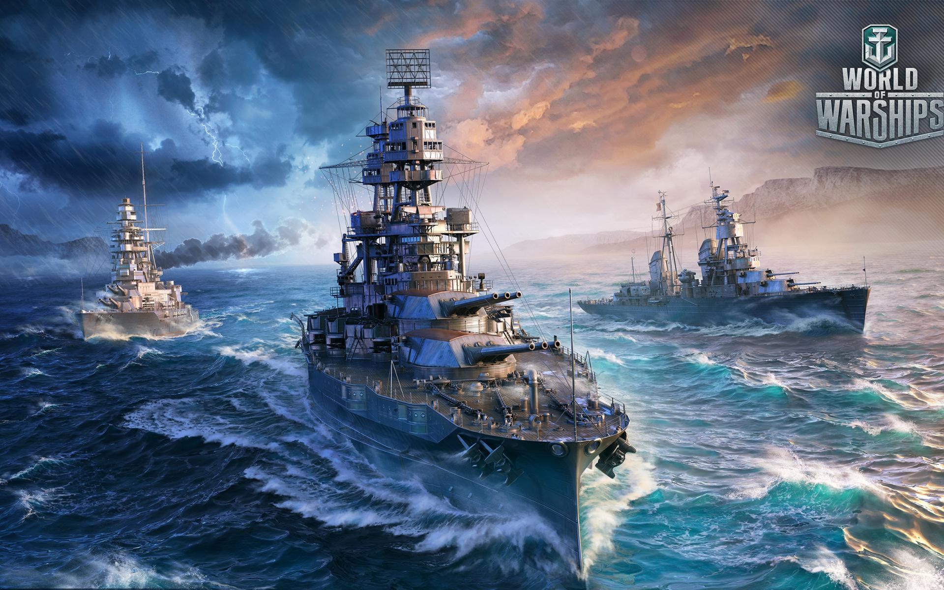 1920x1200 wallpaper World of Warships, 2017 online game, ships