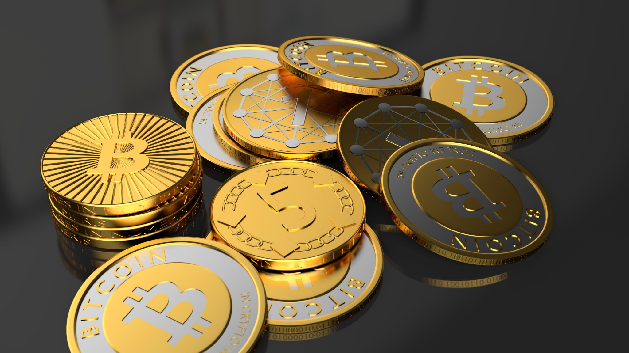 Download 2048x1152 Wallpaper Coins, Bitcoin, 4k, Dual Wide,