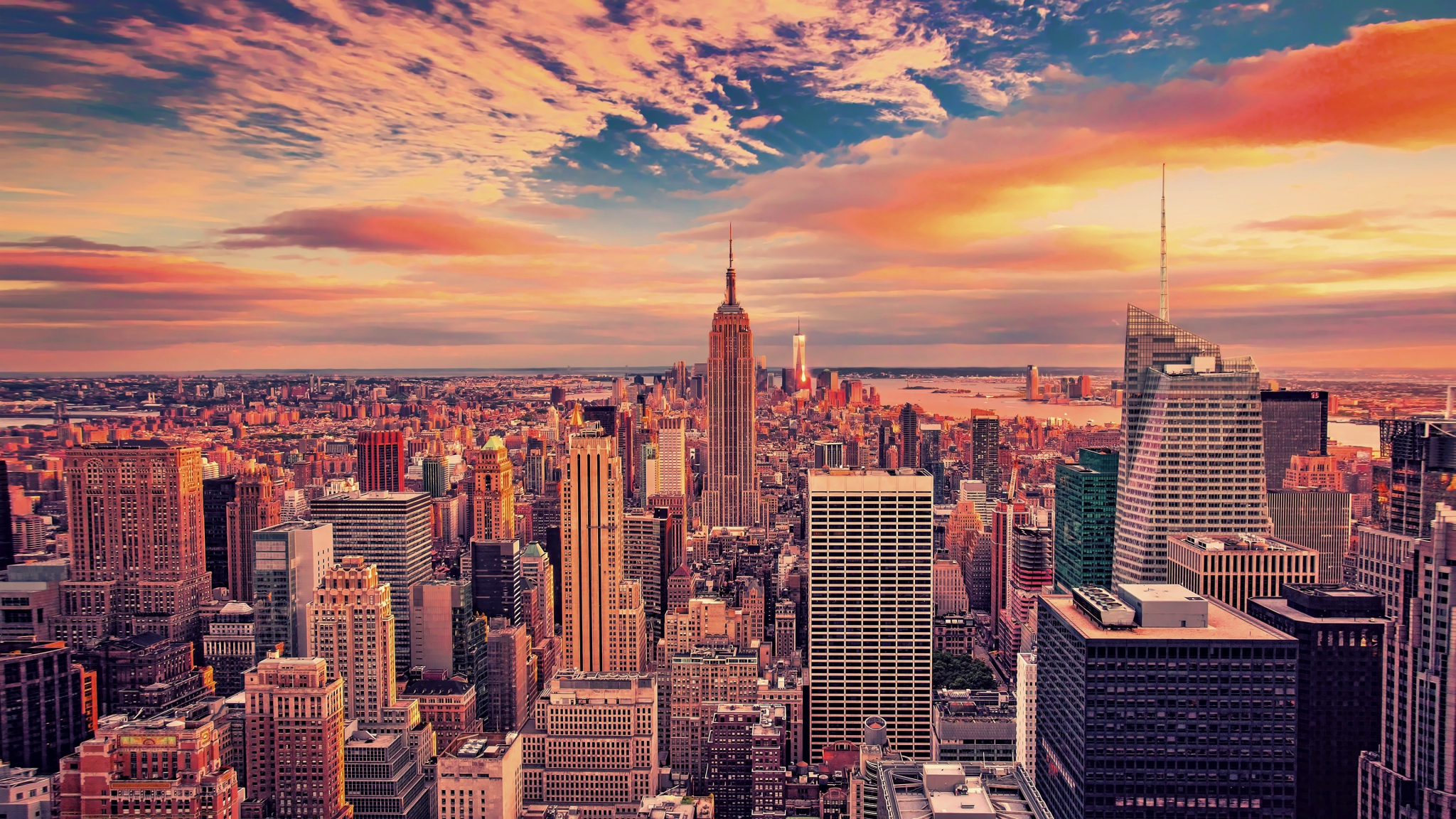 2048x1152 wallpaper Empire state building, buildings, skyscrapers, new york city, sunset, 4k