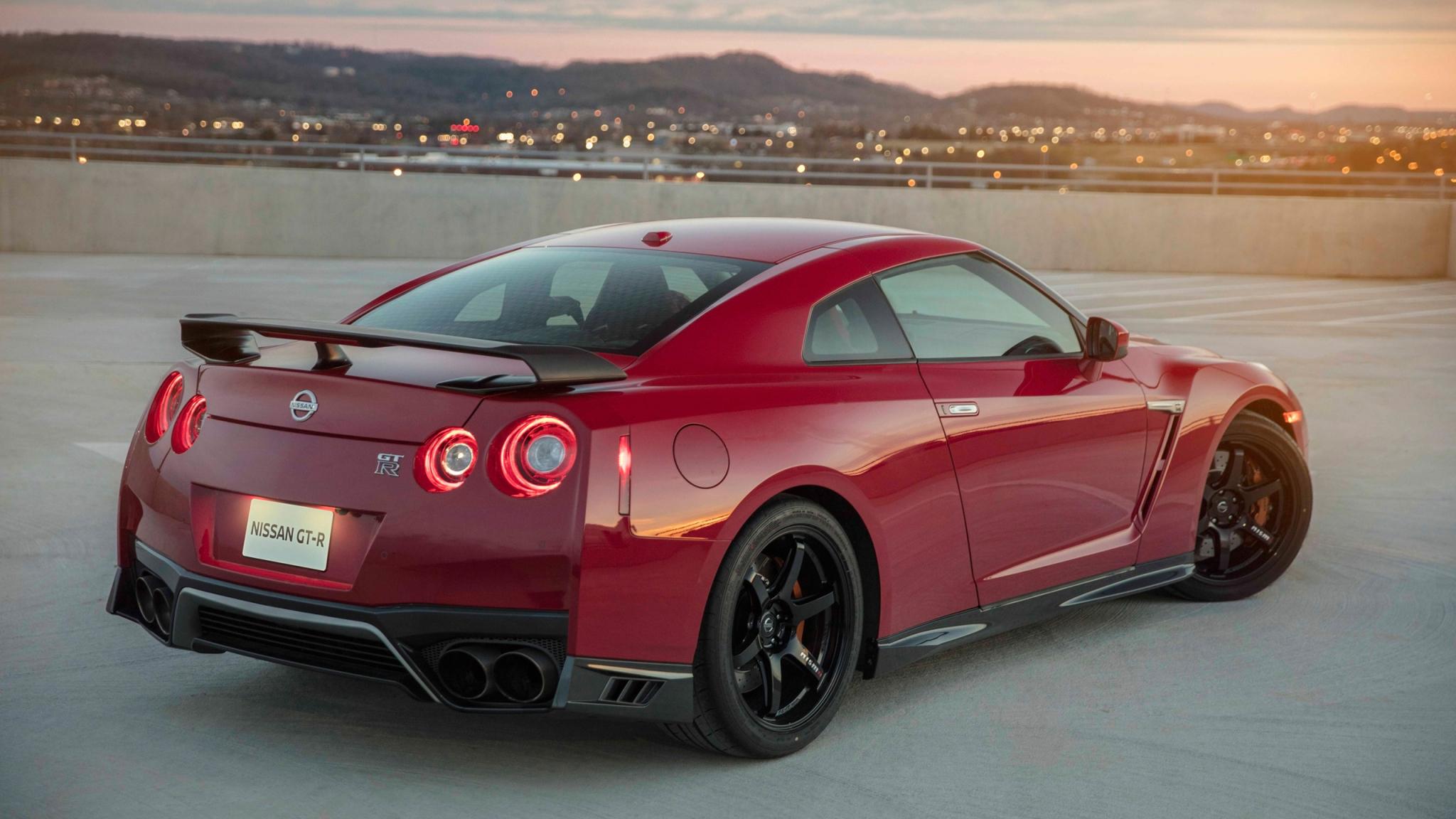 2048x1152 wallpaper Nissan GT-R, rear view, red car