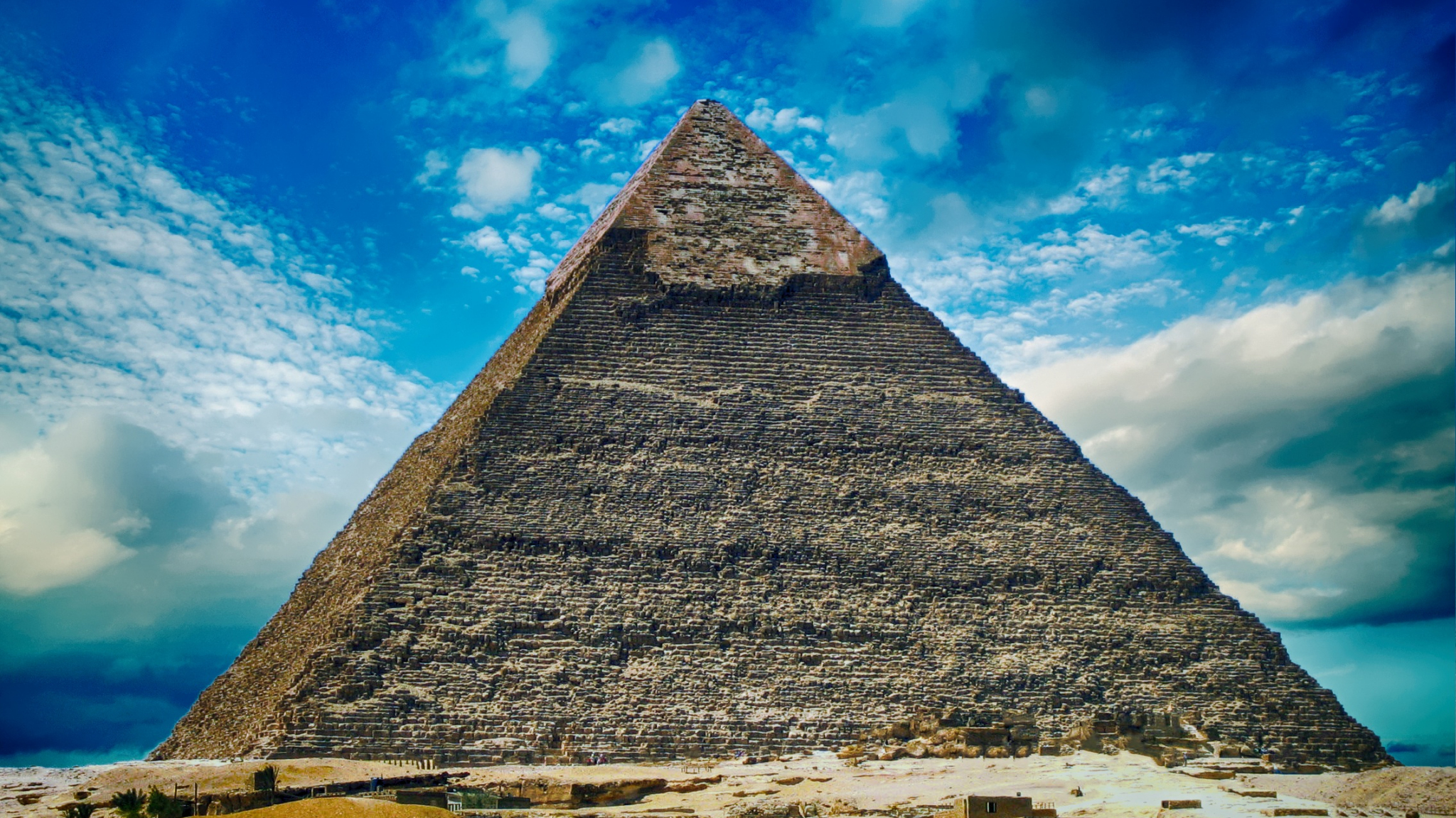 Download 2048x1152 Wallpaper Pyramid, Giza Pyramids, Desert, Ancient