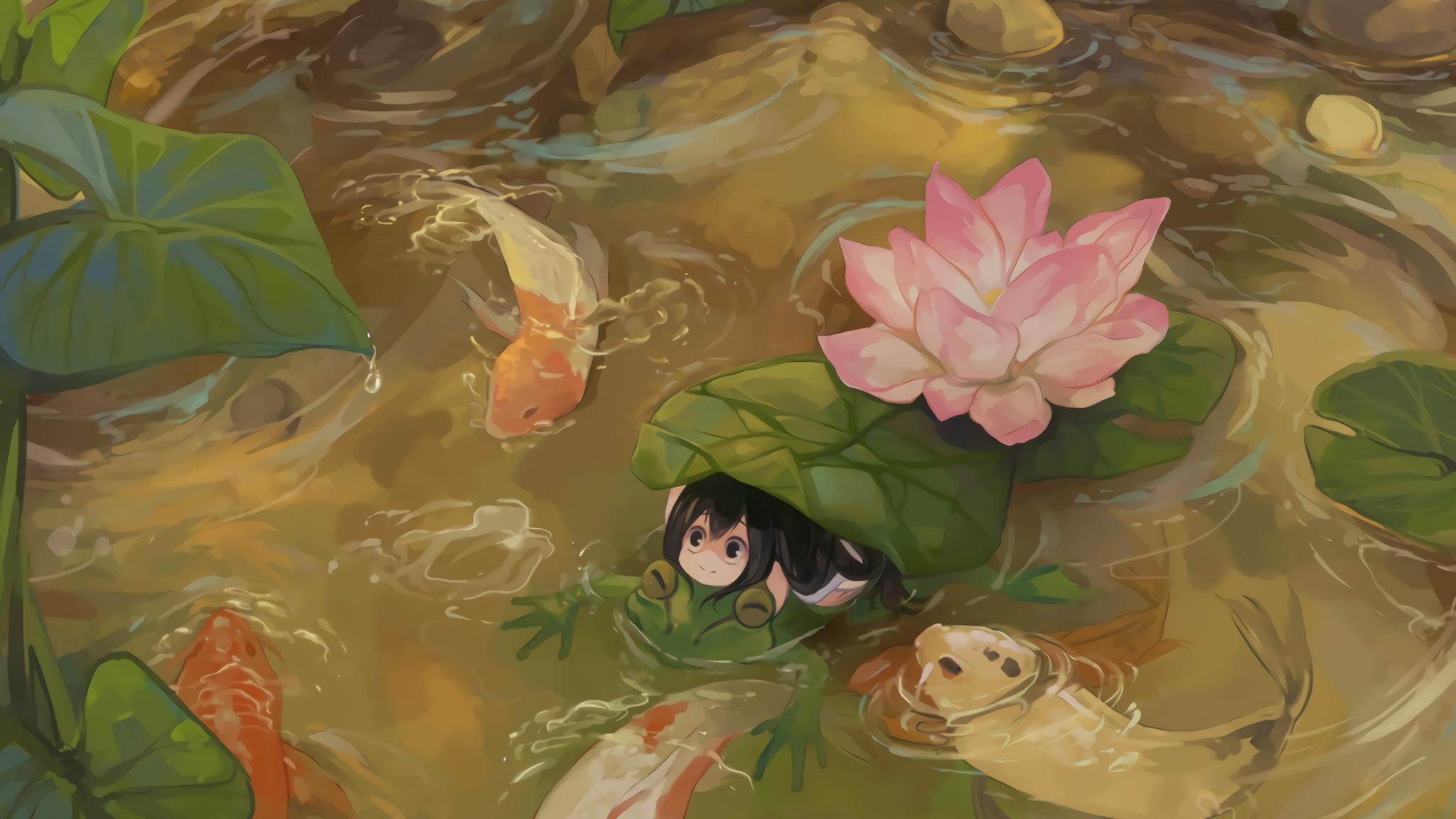 Download 2048x1152 Wallpaper Tsuyu Asui In Lake, Anime ...
