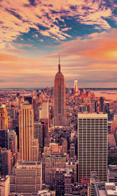240x400 wallpaper Empire state building, buildings, skyscrapers, new york city, sunset, 4k
