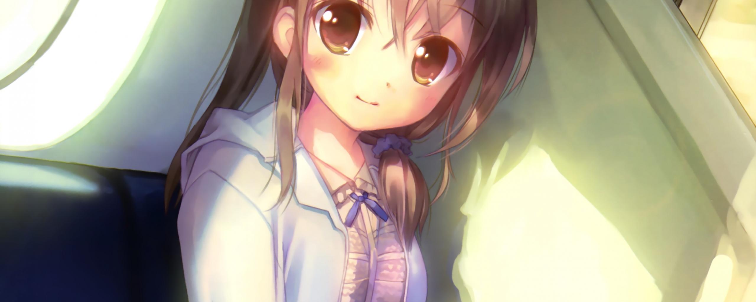 Desktop Wallpaper Cute Original Anime Girl Beautiful Brown