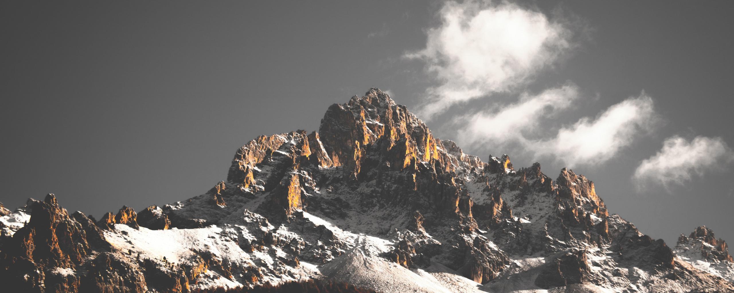 2560x1024 wallpaper Mountains, cliffs, nature, tree, 5k