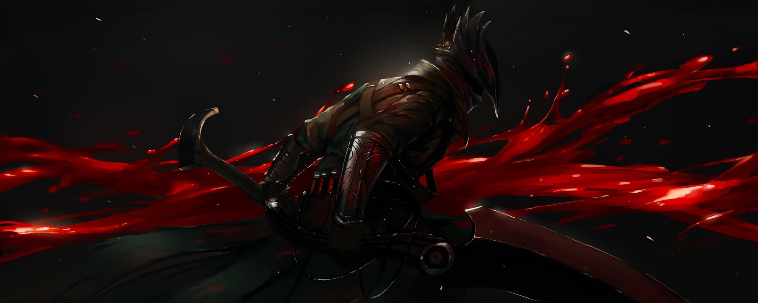 2560x1024 wallpaper Dark, warrior, bloodborne