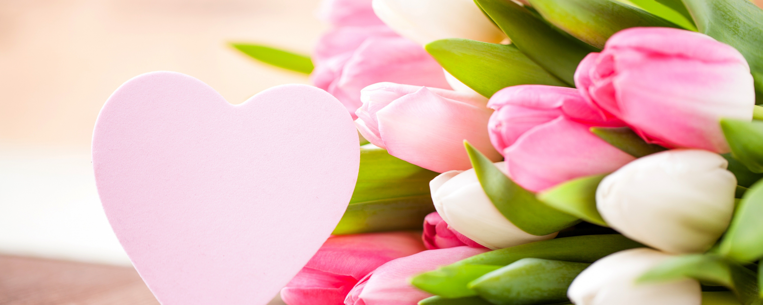 2560x1024 wallpaper Valentines day, flowers, tulips, hearts, love