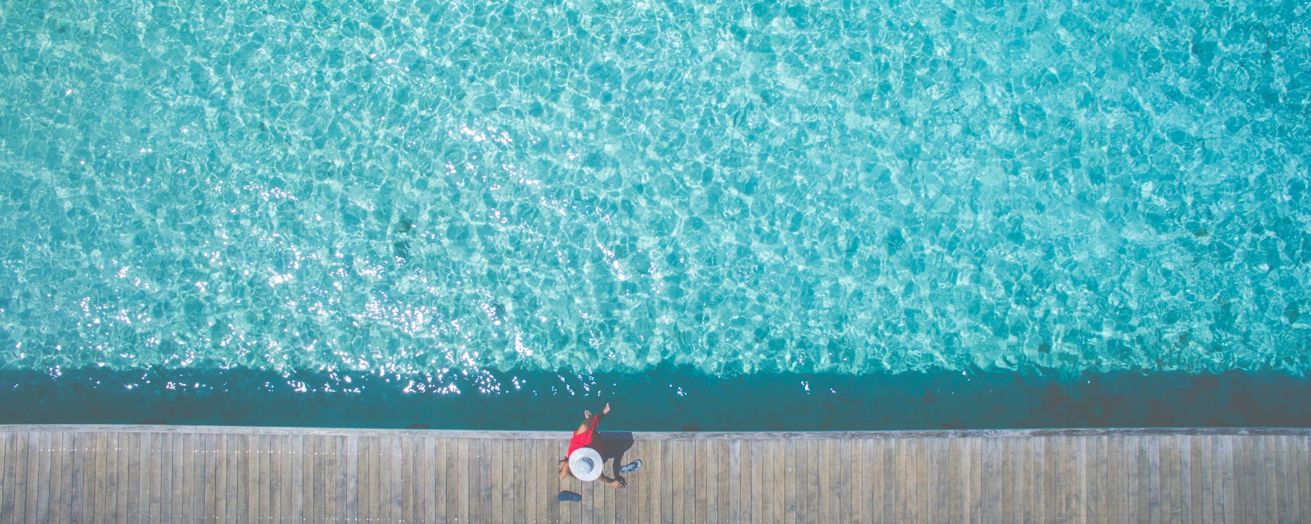 2560x1024 wallpaper Enjoying day, swimming pool, aerial view, summer holiday