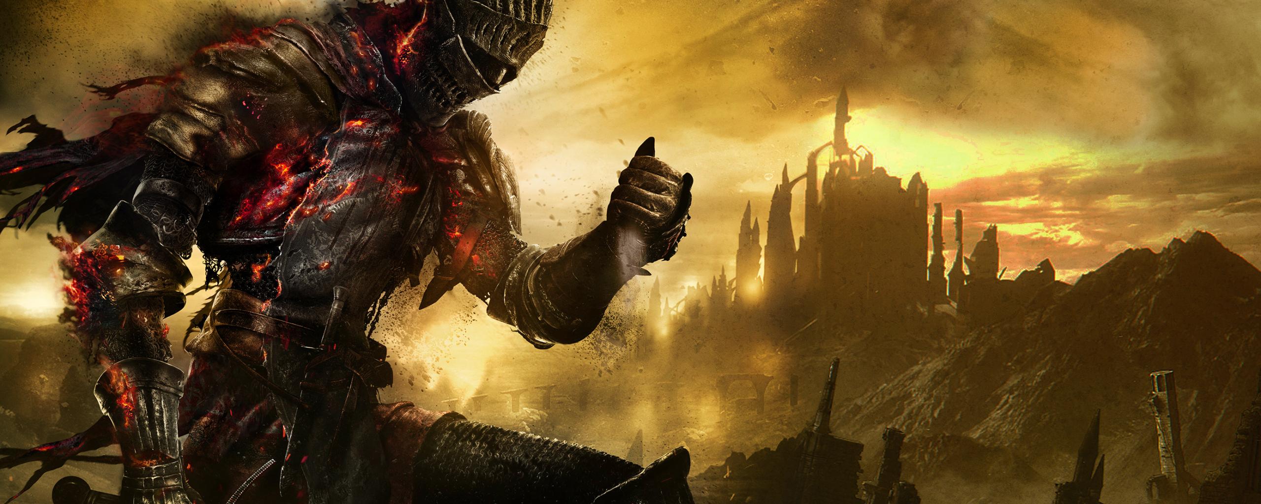 2560x1024 wallpaper Dark souls 3 video game, dark warrior