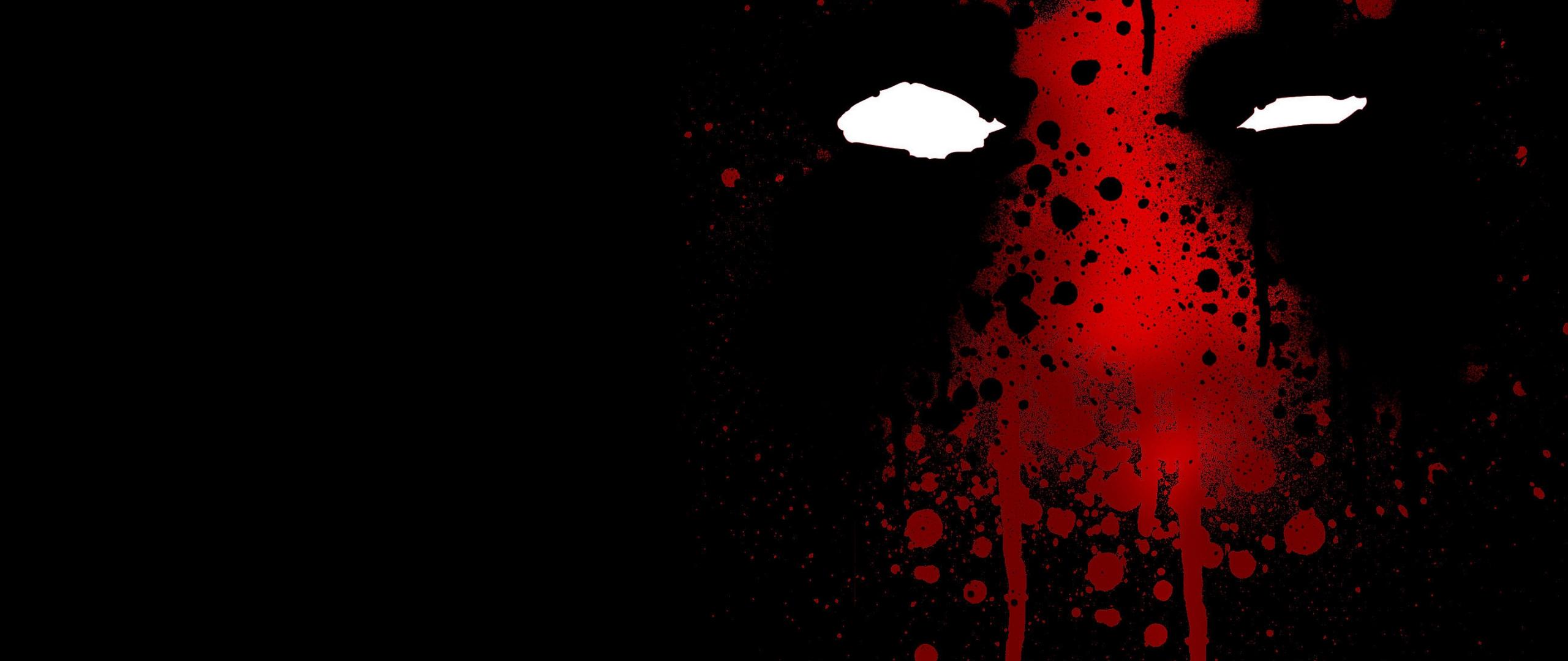 2560x1080 wallpaper Deadpool face, dark