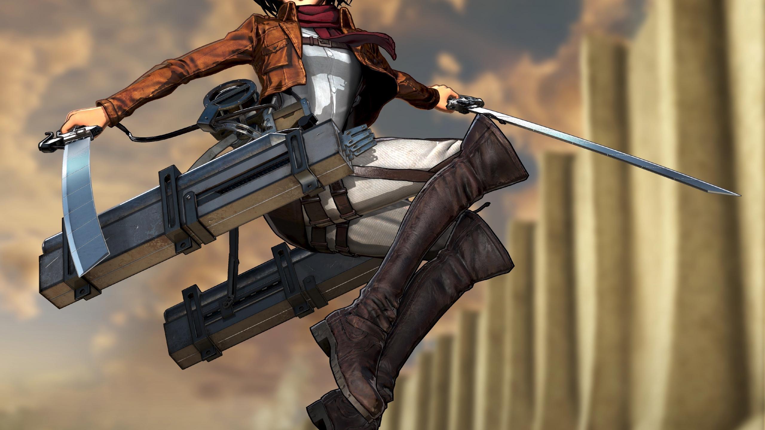 Desktop Wallpaper Jump Anime Girl Mikasa Ackerman Attack On Titan 4k Hd Image Picture Background 6dbc32