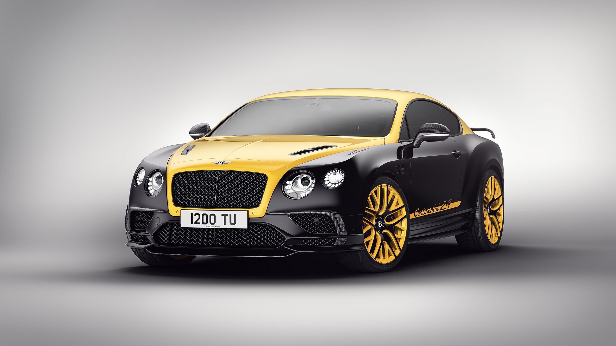 Download 2560x1440 Wallpaper Yellow Black Car Bentley Continental