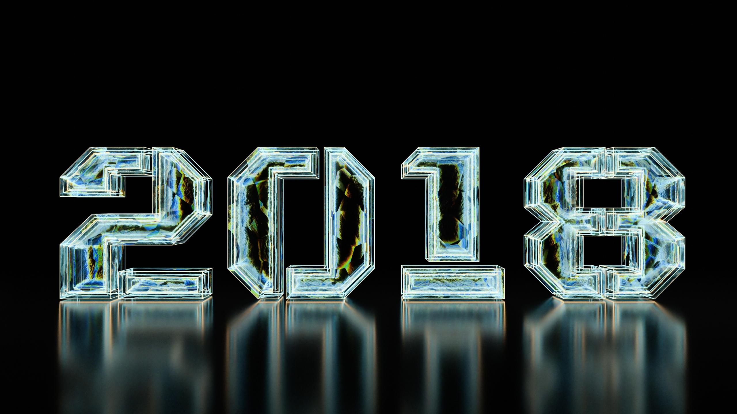 2560x1440 wallpaper New year, 2018, typography, digital art