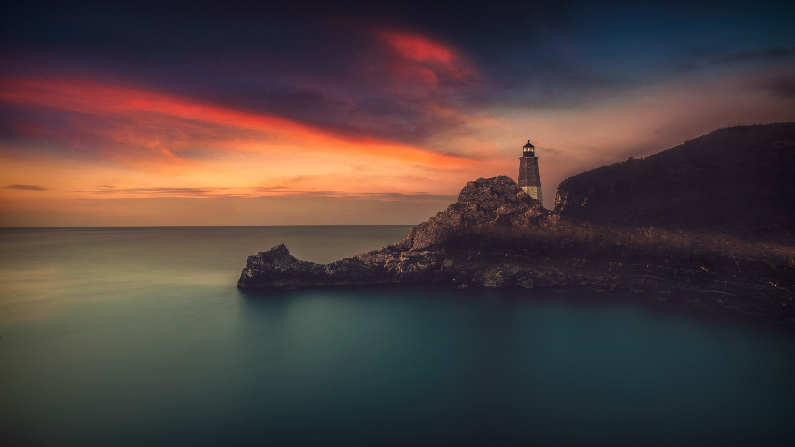 Download 2560x1440 Wallpaper Light House At Beach In Night, Dual