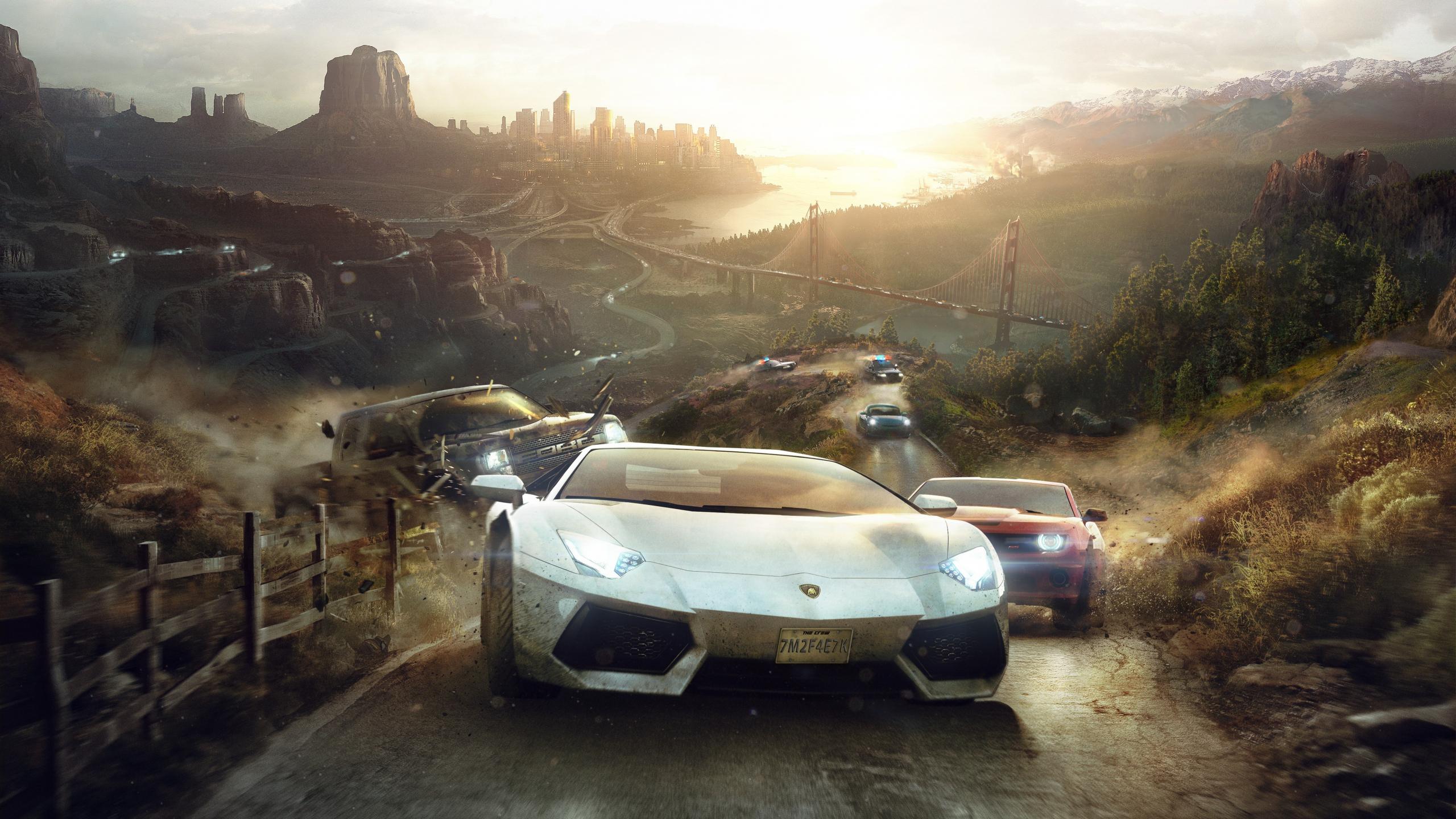 Download 2560x1440 Wallpaper The Crew Game Lamborghini Racing Cars