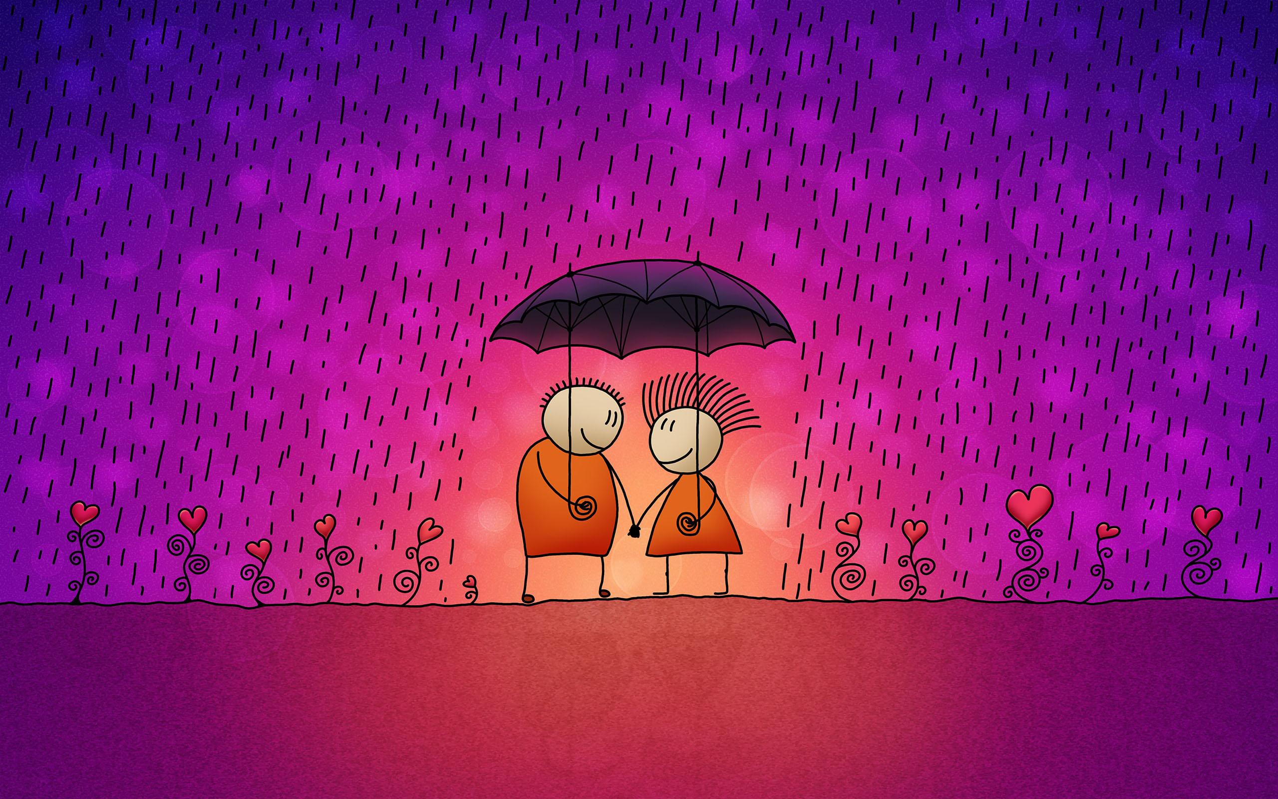Download 2560x1600 Wallpaper Funny Cartoon Love Couple In The Rain