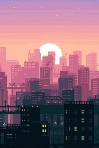 Download 240x320 Wallpaper Pixel Art Abstract City Old